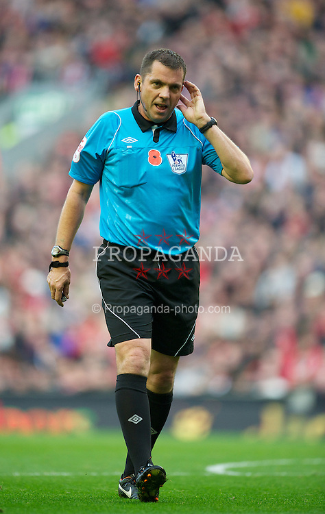 LIVERPOOL, ENGLAND - Saturday, November 5, 2011: Referee Phil Dowd during the Premiership match between Liverpool and Swansea City at Anfield. (Pic by David Rawcliffe/Propaganda)
