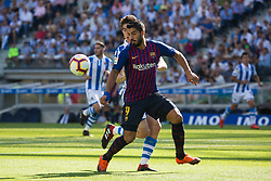 September 15, 2018 - Zubeldia of Real Sociedad and Luis Suarez of FC Barcelona in action during the match played in Anoeta Stadium between Real Sociead and FC Barcelona in San Sebastian, Spain, at Sept. 15th 2018. Photo UGS/AFP7 (Credit Image: © AFP7 via ZUMA Wire)