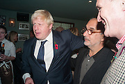 BORIS JOHNSON; ALAN YENTOB, Party to celebrate the publication of 'Winter Games' by Rachel Johnson. the Draft House, Tower Bridge. London. 1 November 2012.