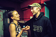 Man and woman talking, Chariot Spa, Fairchild St, Shoreditch, London May 2016