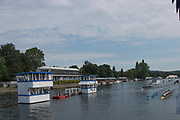 """Henley on Thames, United Kingdom, 4th July 2018, Wednesday, View, Heat of the """"Temple Challenge Cup"""" left, """"University of West of England vs Brown University USA"""",  first day of the annual,  """"Henley Royal Regatta"""", Henley Reach, River Thames, Thames Valley, England, © Peter SPURRIER,"""