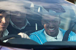 © Licensed to London News Pictures . 17/07/2015 . Manchester , UK . FABIAN DELPH smiles as he's driven away from the Etihad Stadium after signing for Manchester City Football Club , from Aston Villa . Photo credit : Joel Goodman/LNP