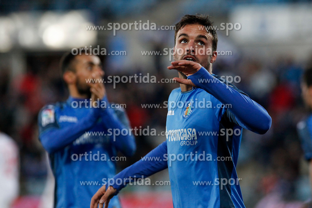 08.02.2015, Coliseum Alfonso Perez, Madrid, ESP, Primera Division, FC Getafe vs FC Sevilla, 22. Runde, im Bild Getafe&acute;s Pedro Leon celebrates a goal // uring the Spanish Primera Division 22nd round match between Getafe FC and Sevilla FC at the Coliseum Alfonso Perez in Madrid, Spain on 2015/02/08. EXPA Pictures &copy; 2015, PhotoCredit: EXPA/ Alterphotos/ Victor Blanco<br /> <br /> *****ATTENTION - OUT of ESP, SUI*****