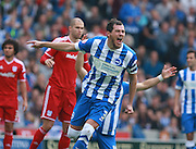 Brighton captain and central defender, Gordon Greer appeals to the referee for a decision during the Sky Bet Championship match between Brighton and Hove Albion and Cardiff City at the American Express Community Stadium, Brighton and Hove, England on 3 October 2015. Photo by Bennett Dean.
