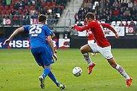 ALKMAAR - 04-10-2015, AZ - FC Twente, AFAS Stadion, 3-1, AZ speler Vincent Janssen (r), FC Twente speler Peet Bijen.