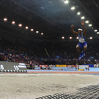 Will Claye wins gold in the triple jump at the IAAF World Indoor Championships, March 3, 2018