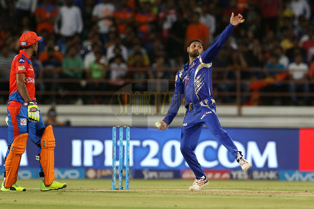 Harbhajan Singh of the Mumbai Indians bowls during match 35 of the Vivo 2017 Indian Premier League between the Gujarat Lions and the Mumbai Indians  held at the Saurashtra Cricket Association Stadium in Rajkot, India on the 29th April 2017<br /> <br /> Photo by Vipin Pawar - Sportzpics - IPL