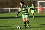 Forest Green Rovers Charlie Rowlands(12) on the ball during the South West Womens Premier League match between Forest Greeen Rovers Ladies and Marine Academy Plymouth LFC at Slimbridge FC, United Kingdom on 5 November 2017. Photo by Shane Healey.