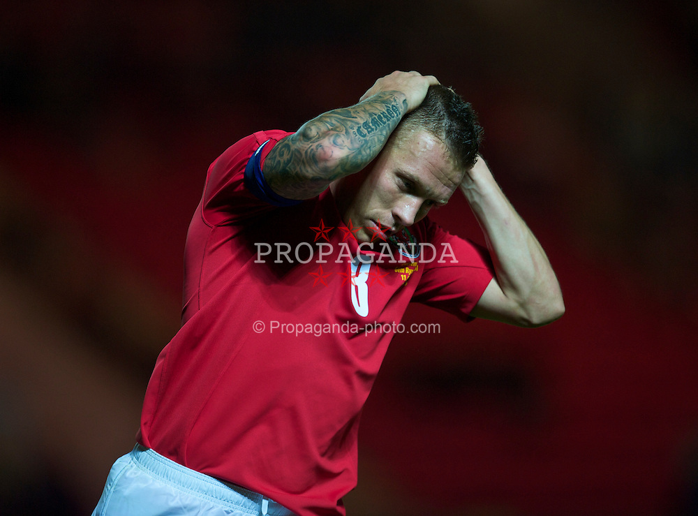 LLANELLI, WALES - Wednesday, August 11, 2010: Wales' captain Craig Bellamy rues a missed chance against Luxembourg during an international friendly match at Parc y Scarlets. (Pic by David Rawcliffe/Propaganda)
