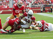 Oct 07, 2018; Santa Clara, CA, USA; Arizona Cardinals tight end Jermaine Gresham (84) makes an 11-yard catch in a game between the San Francisco 49ers and the Arizona Cardinals at Levi's Stadium. Arizona defeated San Francisco 28-18. (Spencer Allen/Image of Sport)