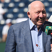 March 12, 2014. Indian Wells, California. Bud Collins receives the Alan King Tennis Passion Award on Stadium 1 at the 2014 BNP Paribas Open. (Photo by Billie Weiss/BNP Paribas Open)