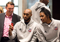 Brandon Boggs and Lovell Cook of Bristol Flyers take a selfie - Mandatory by-line: Robbie Stephenson/JMP - 12/09/2016 - BASKETBALL - Ashton Gate Stadium - Bristol, England - Bristol Flyers Sponsors Event