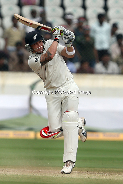 New Zealand batsman Brendon McCullum Playes a shot against india during the 2nd test match Indian vs New Zealand day-4 Played at Rajiv Gandhi International Stadium, Uppal, Hyderabad, 15 November 2010 (5-day match)