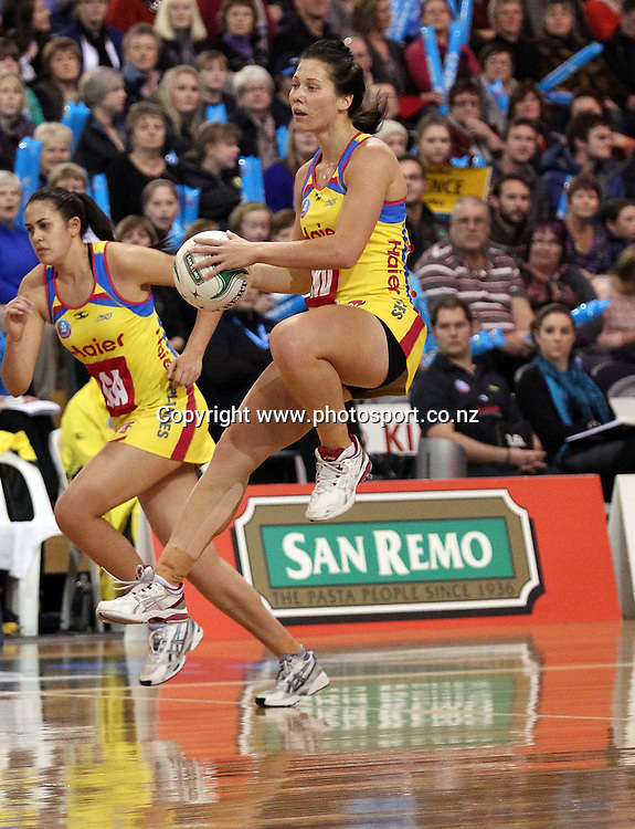 Katarina Cooper in action for the Pulse.<br /> ANZ Championship - Steel v Pulse, 28 May 2012, The Edgar Centre, Dunedin, New Zealand.<br /> Photo: Rob Jefferies / photosport.co.nz