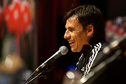 DINARD, FRANCE - Friday, July 8, 2016: Wales' manager Chris Coleman during a press conference at their base in Dinard during the UEFA Euro 2016 Championship. (Pic by David Rawcliffe/Propaganda)