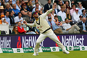 David Warner of Australia throws the ball from the boundary while fielding during the International Test Match 2019 match between England and Australia at Lord's Cricket Ground, St John's Wood, United Kingdom on 18 August 2019.