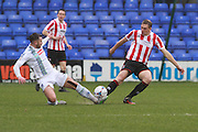 Liam Ridehalgh and Danny Wright during the Vanarama National League match between Tranmere Rovers and Cheltenham Town at Prenton Park, Birkenhead, England on 20 February 2016. Photo by Antony Thompson.