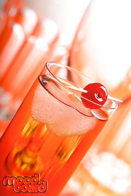 Studio shot of beverage with ice