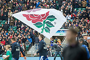 Twickenham, Surrey United Kingdom. Large flag swirling as the teams come onto the pitch for the national anthems. England vs Argentina. Autumn International, Old Mutual Wealth series. RFU. Twickenham Stadium, England. <br /> <br /> Saturday  11.11.17.    <br /> <br /> [Mandatory Credit Peter SPURRIER/Intersport Images]