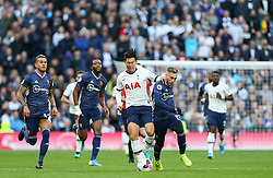 Son Heung-Min of Tottenham Hotspur and Gerard Deulofeu of Watford tussle for the ball - Mandatory by-line: Arron Gent/JMP - 19/10/2019 - FOOTBALL - Tottenham Hotspur Stadium - London, England - Tottenham Hotspur v Watford - Premier League