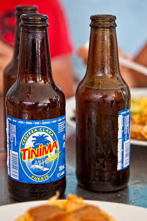 Tinima beer in Playa Blanca, Holguin, Cuba.