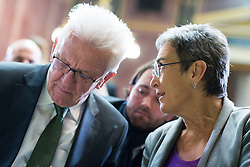 17.10.2016, Parlament, Wien, AUT, Grüne, Festveranstaltung anlässlich 30 Jahre Grüne im Parlament. im Bild v.l.n.r. Ministerpräsidente von Baden-Württemberg Winfried Kretschmann und Vizepräsidentin des Europaparlaments Ulrike Lunacek // f.l.t.r. german politician of the greens Winfried Kreschmann and MEP and Vice-President of the European Parliament Ulrice Lunacek (Group of the Greens/ European Free Alliance) during ceremony due to 30 years of the green party in the austrian parliament in Vienna, Austria on 2016/10/17. EXPA Pictures © 2016, PhotoCredit: EXPA/ Michael Gruber