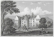 Engraving of Barjarg Tower, Dumfriesshire, Scotland 1824 drawn by J P Neale