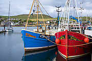 Bright coloured fisherman's trawlers moored at Campbeltown Port, Isle of Arran, Scotland