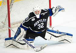 March 12 2016: Bentley Falcons goalie Jayson Argue (32) tends goal during the third period in game two of the Atlantic Hockey quarterfinals series between the Bentley Falcons and the Robert Morris Colonials at the 84 Lumber Arena in Neville Island, Pennsylvania (Photo by Justin Berl)