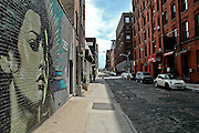 Street art on a wall of Water street in DUMBO, Brooklyn, New York, 2008.