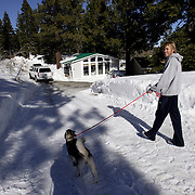 BISHOP, CA, January 19, 2008: Ryan Hall trains and lives part time with his wife and miniature Husky in Mammoth Lakes, CA. The high altitude and clean air provide a picturesque and challenging training ground for the Olympic hopeful.