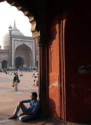 © Licenced to London News Pictures. 26//11/2014. Delhi. India.  <br /> Muslims are pictured at dusk in the courtyard of the Jama Masjid mosque in Old Delhi, India, November 26th 2014. Commissioned by the Mughal Emperor Shah Jahan, it is the best-known mosque in India.<br /> Photo Credit: Susannah Ireland