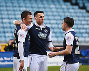 Millwall forward Lee Gregory celebrates his goal to make it 1-0 during the Sky Bet League 1 match between Millwall and Blackpool at The Den, London, England on 5 March 2016. Photo by David Charbit.