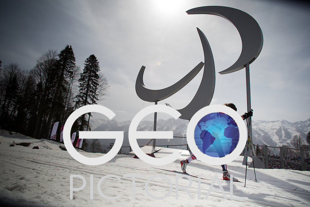 Cross-country Skiing: 2014 Sochi Winter Paralympics: Anne Karen Olsen of Norway competing in the women's 15km Standing Cross-Country Skiing at the Laura Cross-Country Ski and Biathlon Center, Sochi, Russia 10/03/2014;<br /> PHOTO CREDIT: &copy; George S Blonsky