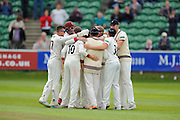 Somerset players huddle together after thier win over Nottinghamshire during the Specsavers County Champ Div 1 match between Somerset County Cricket Club and Nottinghamshire County Cricket Club at the Cooper Associates County Ground, Taunton, United Kingdom on 22 September 2016. Photo by Graham Hunt.