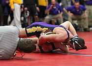 Alburnett's Tyler Shulista (top) pins North Linn's Cole Bamrick in the 126-pound final at the Class 1A sectional wrestling tournament at East Buchanan High School in Wintrhop on Saturday, February 4, 2012. Shulista won with a fall in :43. (Stephen Mally/Freelance)