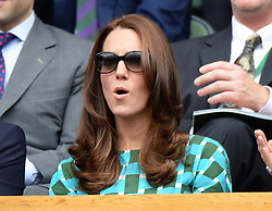 Image licensed to i-Images Picture Agency. 06/07/2014. London, United Kingdom. Duchess of Cambridge in the Royal Box  at the Wimbledon Men's Final.  Picture by Andrew Parsons / i-Images