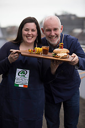 Pictured is Clare Rooney with Ray D'Arcy<br /> at the final of the Bord Bia and Today FM Search for Ireland's first HAMbassador.  After weeks of scouring the nation for Ireland&rsquo;s best ham sandwich maker, Bord Bia and Today FM are delighted to announce that Clare Rooney from Kells, County Meath has won the title of Ireland&rsquo;s first HAMbassador. Chef Catherine Fulvio, pig farmer Pat O'Flaherty and Today FM&rsquo;s Jenny Kelly selected Clare as the winner for her &lsquo;hamazing&rsquo; ham sandwich creation using Bord Bia Quality Assured Ham cooked in her own home-made BBQ sauce, creamy coleslaw and spinach leaves served in a fresh white bap. The search for Ireland&rsquo;s first HAMbassador is all thanks to the Bord Bia Quality Mark &ndash; for Ham &amp; Bacon you can trust. For a selection of ham and bacon recipes check out www.bordbia.ie Picture Andres Poveda