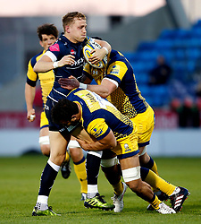 Mike Haley of Sale Sharks is tackled - Mandatory by-line: Matt McNulty/JMP - 07/04/2017 - RUGBY - AJ Bell Stadium - Sale, England - Sale Sharks v Worcester Warriors - Aviva Premiership