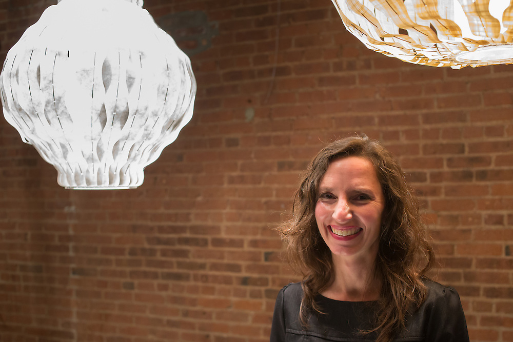 Lioghting designer Julie Moringello of ModernMaine. Her lamps are made of paper, papyrus and other materials.