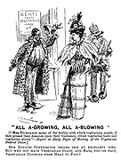 """""""All A-Growing, All A-Blowing"""" (""""Miss Nicholson spoke of the facility with which vegetarians might, if they pressed their demands upon their tradesmen, obtain vegetarian boots and vegetarian gloves."""" - Report in Daily Paper of Meeting of the Vegetarian Federal Union.) Our lunatic contributor thinks this an excellent idea. But why not have vegetarian coats, and hats, too - in fact, vegetarian clothing from head to foot?"""