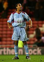 Fotball<br /> England 2004/2005<br /> Foto: SBI/Digitalsport<br /> NORWAY ONLY<br /> <br /> Sunderland v West Ham United, Coca-Cola Championship, Stadium of Light, Sunderland 04/12/2004.<br /> <br /> West Ham's Anton Ferdinand celebrates after Teddy Sheringham scores his team's second goal.