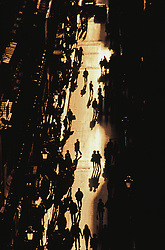 Europe, Italy, Rome, shoppers on Via Condotti fashion street in silhouette