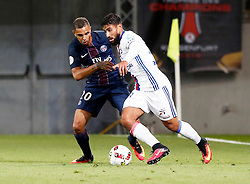 06.08.2016, Woerthersee Stadion, Klagenfurt, AUT, Trophee des Champions, Paris St. Germain vs Olympique Lyon, im Bild Layvin Kurzawa (Paris Saint Germain) und Nabil Fakir (Olympique Lyon). // during the French Supercup Match between Paris St. Germain and Olympique Lyon at the Woerthersee Stadion in Klagenfurt, Austria on 2016/08/06. EXPA Pictures © 2016, PhotoCredit: EXPA/ Wolfgang Jannach