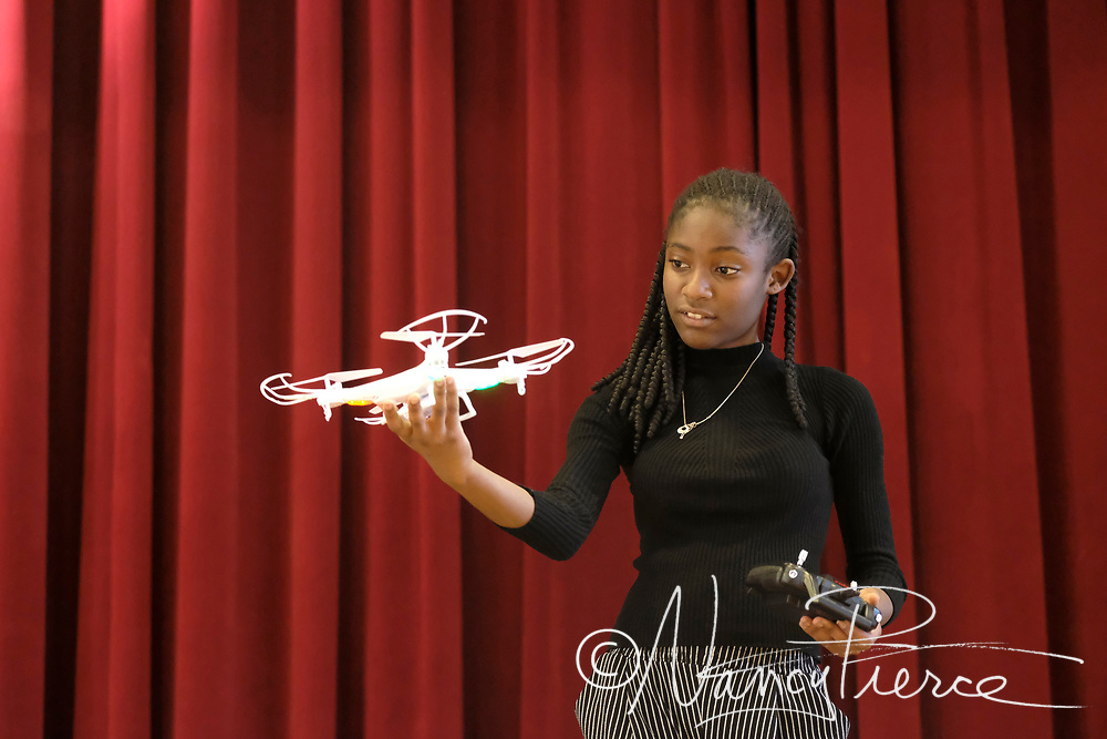 This student is looking at a drone. Teacher is Mr Lodati, McClintock Middle School.