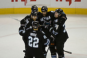 May 26, 2013; San Jose, CA, USA; San Jose Sharks center Joe Thornton (19) is congratulated for scoring a goal against the Los Angeles Kings during the first period in game six of the second round of the 2013 Stanley Cup Playoffs at HP Pavilion.