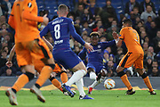 Callum Hudson-Odoi of Chelsea (20) with a shot on goal during the Champions League group stage match between Chelsea and PAOK Salonica at Stamford Bridge, London, England on 29 November 2018.