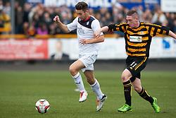 Falkirk's Kieran Duffie and Alloa Athletic's Declan McManus.<br /> Half time : Alloa Athletic 0 v 0 Falkirk, Scottish Championship 12/10/2013. played at Recreation Park, Alloa.<br /> &copy;Michael Schofield.