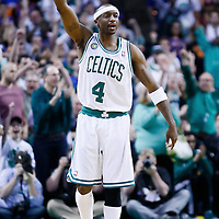 28 April 2013: Boston Celtics shooting guard Jason Terry (4) celebrates during Boston Celtics overtime 97-90 victory over the New York Knicks during Game Four of the Eastern Conference Quarterfinals of the 2013 NBA Playoffs at the TD Garden, Boston, Massachusetts, USA.