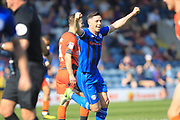 GOAL Ian Henderson celebrates scoring 1-0 during the EFL Sky Bet League 1 match between Rochdale and Wycombe Wanderers at Spotland, Rochdale, England on 19 April 2019.